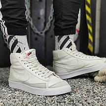 Кроссовки мужские Nike Blazer Mid (белые) Top replic, фото 3