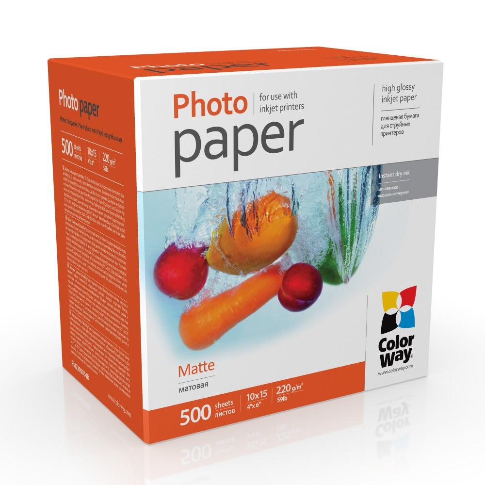 Фотобумага матовая 220г/м, 10x15 (500 лист) ColorWay