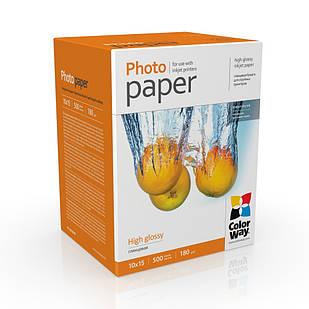 Фотобумага глянец 180г/м, 10х15 (500 лист) ColorWay