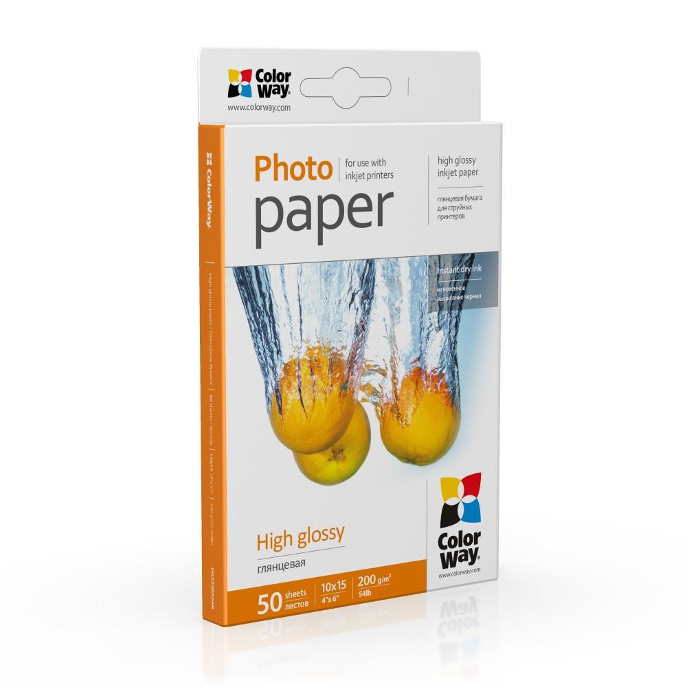 Фотобумага глянец 200г/м, 10x15 (50 лист) ColorWay