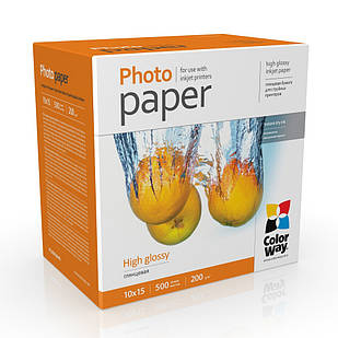 Фотобумага глянцец 200г/м, 10x15 (500 лист) ColorWay