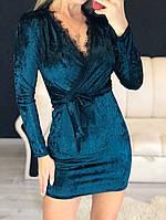 Платье женские коктейльное, темно-зеленое, материал - бархат муар, кружево, код G-105