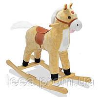 """🔝 Музыкальная лошадка качалка детская """"Поющий конь"""", Плюшевый, Светло-коричневый (высота - 62 см)"""