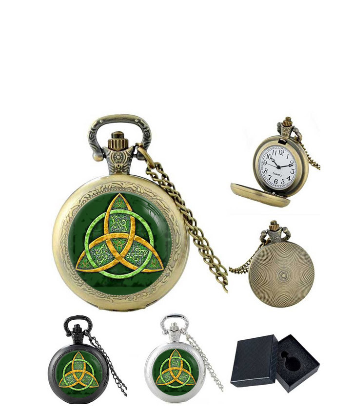 Карманные часы Трикветр зеленый