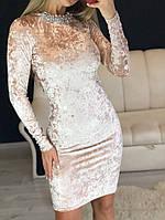 Платье женские коктейльное с украшением, бежевое, материал - бархат муар, код G-106