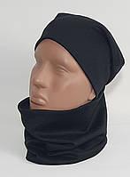 Комплект трикотажный шапка + баф черный Warmy
