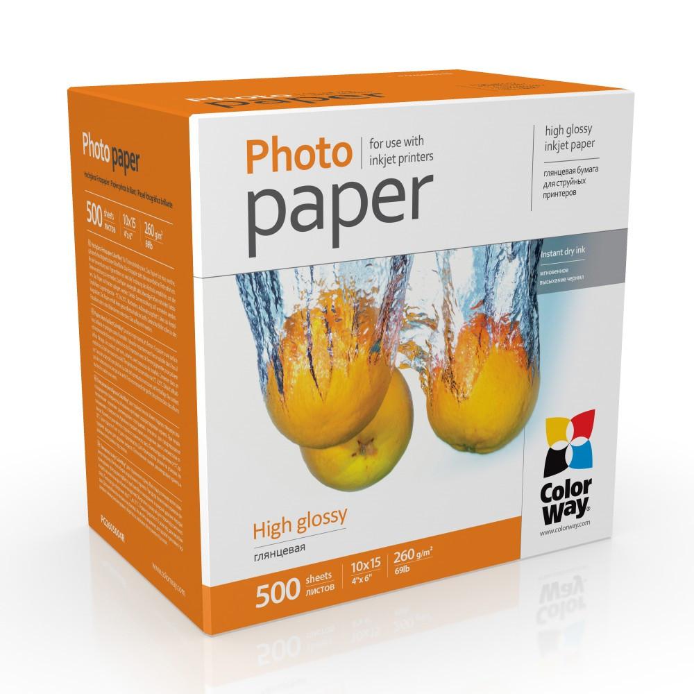 Фотобумага глянец 260г/м, 10x15 (500 лист) ColorWay
