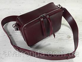 65-2р Натуральная кожа Сумка женская кросс-боди бордовая Кожаная сумка женская через плечо марсала вишневая, фото 2