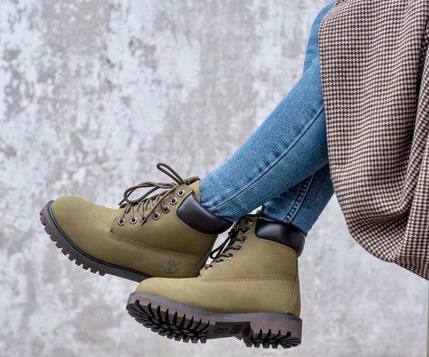 Модные женские ботинки  на меху Timberland oliva