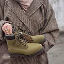 Модные женские ботинки  на меху Timberland oliva, фото 6