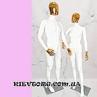 Манекен мужской безликий с золотой маской в полный рост