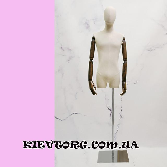 Манекен мужской витринный выставочный торс с деревянными руками на шарнирах для магазина одежды