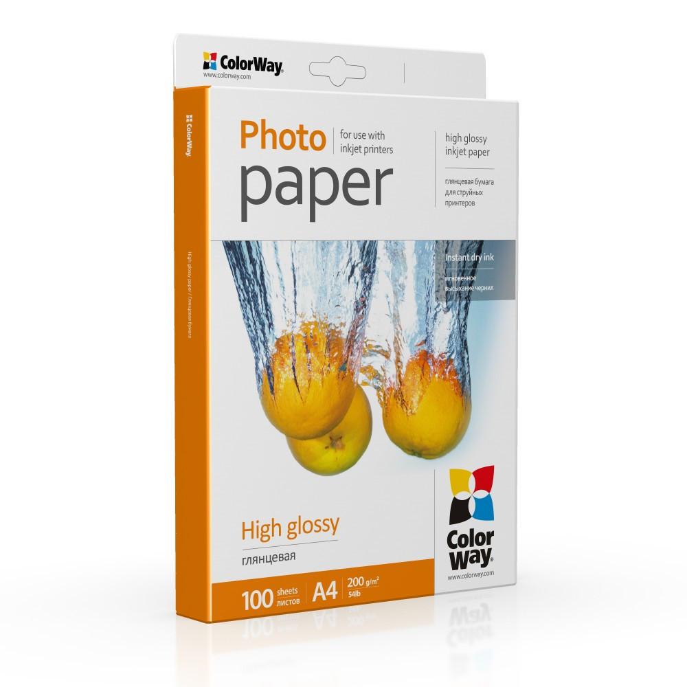Фотобумага глянец 200г/м, A4 (100 лист) ColorWay