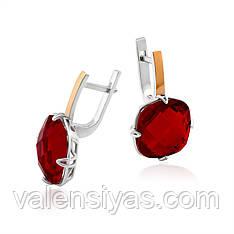 Серебряные серьги с крупными красными фианитами