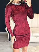 Платье женские коктейльное с украшением, бордовое, материал - бархат муар, код G-106