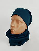 Комплект трикотажный шапка + баф зеленый Warmy