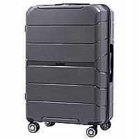 Дорожный чемодан пластиковый полипропилен Wings PP05 большой на 4 колесах серый