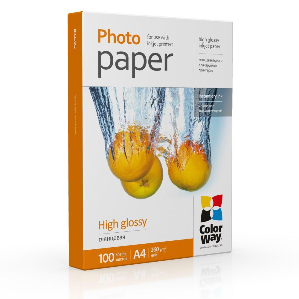 Фотобумага глянец 260г/м, A4 (100 лист) ColorWay