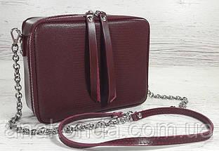 65-2р Натуральная кожа Сумка женская кросс-боди бордовая Кожаная сумка женская через плечо марсала вишневая, фото 3