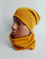 Комплект трикотажный шапка + баф горчичный Warmy