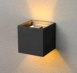 Фасадный уличный светильник DH012 2х3W черный с регулируемым углом свечения IP54 Код.56965