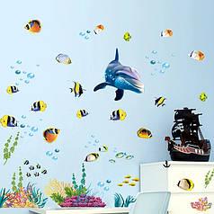 """Наклейки в ванную  """"дельфин и рыбки"""" (лист25*70см)  рыбки наклейки для детей"""