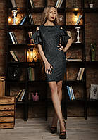 Красивое женское платье с рукавами-воланами бутылочное, фото 1