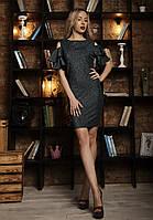 Красивое женское платье с рукавами-воланами бутылочное