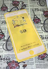 Iphone 8 plus защитное 3D 5D 6D 9D стекло Full Glue полное покрытие (белая окантовка) полный клей