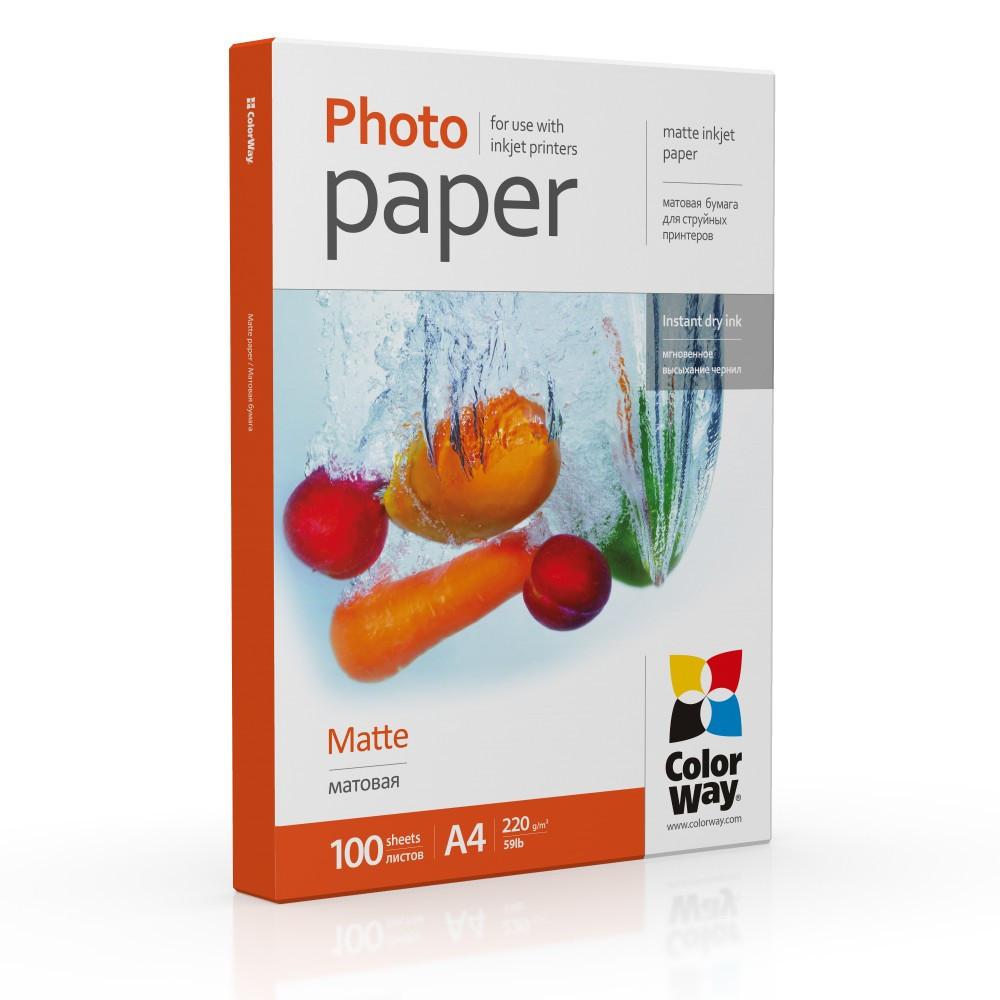 Фотобумага матовая 220г/м, A4 (100 лист) ColorWay