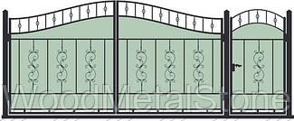 Кованные ворота с калиткой ВКГ-01