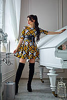 Платье  мод 373-18 размер 44,46 горчица с белым, фото 1