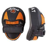 """Лапы перчатки боксерские малые гнутые """"кобра"""" (пара)  черно/оранжевые FGT2000, фото 1"""