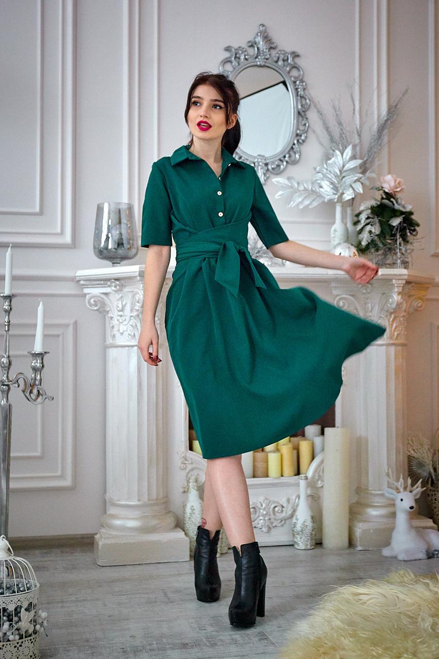 Платье мод №555-3, размеры 44,46,48 бутылочное