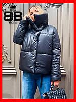 Объемный пуховик женский зимний,короткий,стильная куртка теплая,глянцевая цвет Черный.
