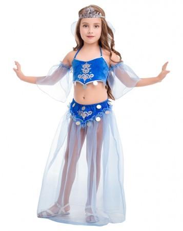 Карнавальный костюм для девочки Жасмин. Комплект - топик, юбка, рукава, головной убор