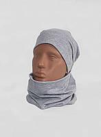 Комплект трикотажный шапка + баф серый Warmy