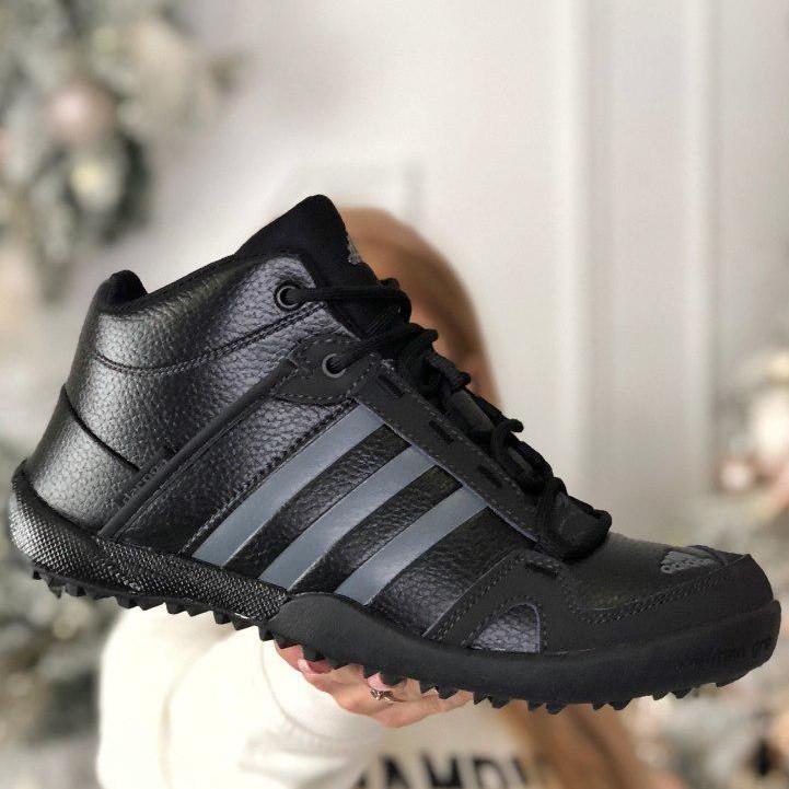 Теплые-зимние мужские кроссовки Adidas Daroga МЕХ (черные) Top replic