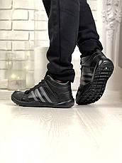 Теплые-зимние мужские кроссовки Adidas Daroga МЕХ (черные) Top replic, фото 3
