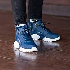 Теплые-зимние мужские кроссовки Nіke Air Huarache Acronym МЕХ (синие) Top replic, фото 2