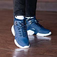 Теплые-зимние мужские кроссовки Nіke Air Huarache Acronym МЕХ (синие) Top replic, фото 3