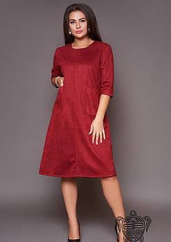 / Размер 50-52 / Женское платье замшевое 31059 / цвет бордовый