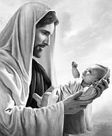 Алмазна мозаїка на підрамнику Ісус Христос з немовлям 50 х 40 см (арт. TN897)