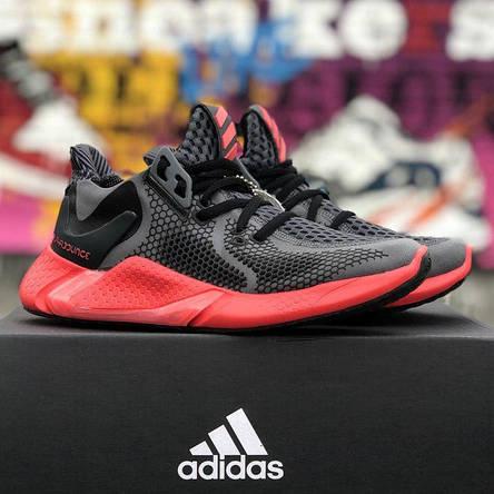 Кроссовки женские Adidas Alphabounce (черные-красные) Top replic, фото 2