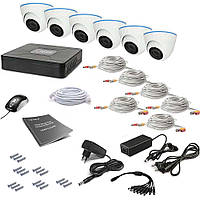Комплект видеонаблюдения Tecsar 6OUT-DOME, фото 1