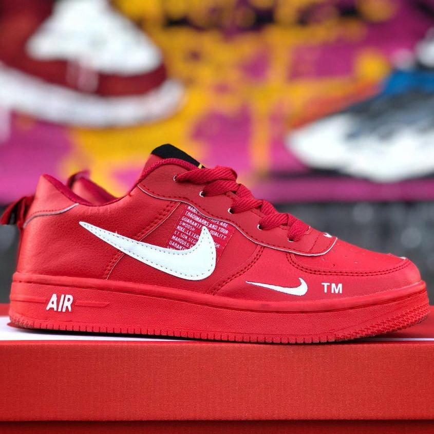 Кроссовки женские Nike Air Force низкие (красные) Top replic