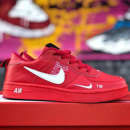 Кроссовки женские Nike Air Force низкие (красные) Top replic, фото 2