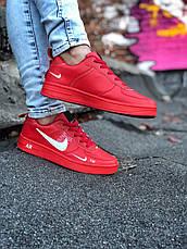 Кроссовки женские Nike Air Force низкие (красные) Top replic, фото 3