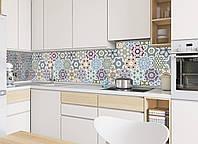 Кухонный фартук Орнамент 03 (виниловая наклейка на стеновую панель скинали пленка серая абстракция геометрия)