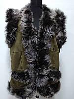 Жилет женский из натуральной овчины-очень тёплый цвет-хаки длина 75см 52р-60р ОГ -106,118,124 ОБ-114,128,130